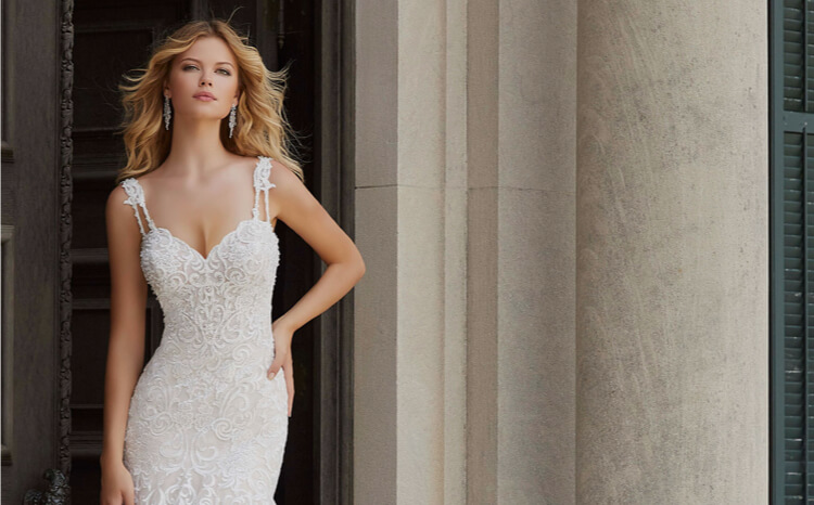 Blonde in White Mori Lee Dress